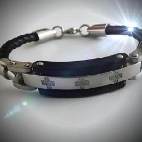 Leather & Stainless Steel Watch Style Bracelet