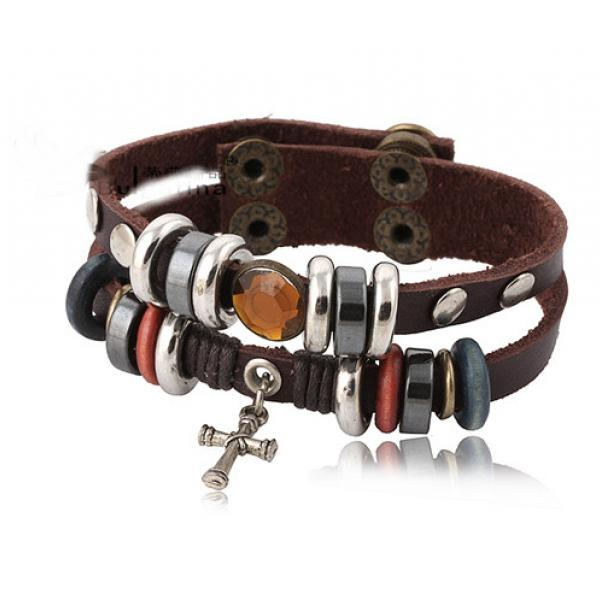 Stainless Steel and Leather Wrap Bracelet with Cross