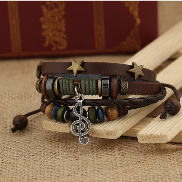 Vintage Leather Retro Beaded Music Bracelet