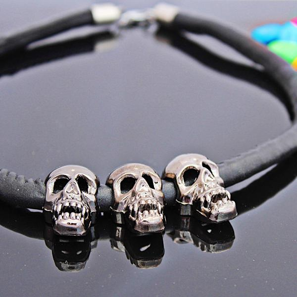 Leather Necklace with Ghost Skulls