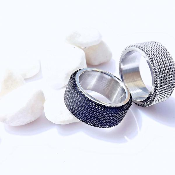 Mesh Ring in Stainless Steel - Black Mesh or Silver Mesh
