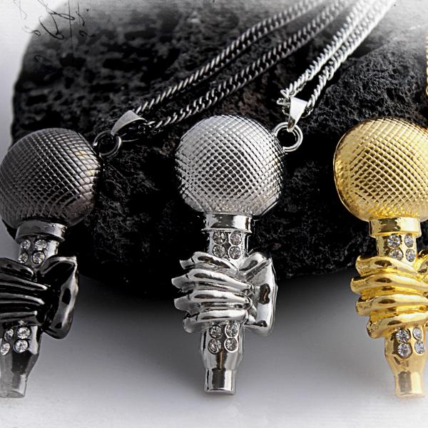Microphone with Hand Pendant - Statement Hip Hop Style