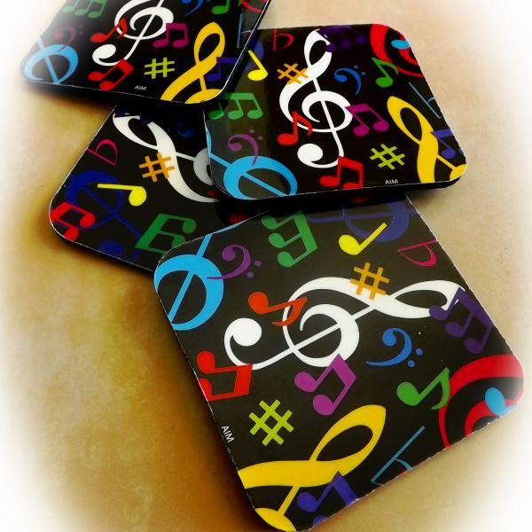 Music Themed Coasters - Colourful Set of 4