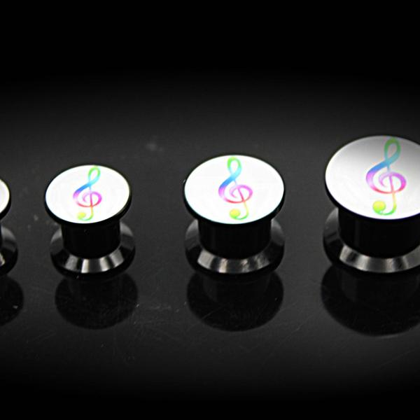 Music Note Ear Plug  Expander Tunnel Colourful