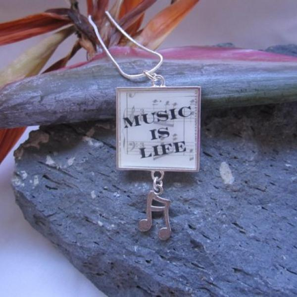 Music Is Life - Funky Resin Pendant With Music Note Charm