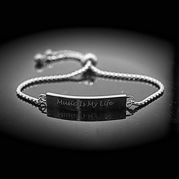 Music Is My Life Inspirational Stainless Steel Bracelet