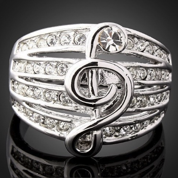 Musical Note Ring with Austria Crystals