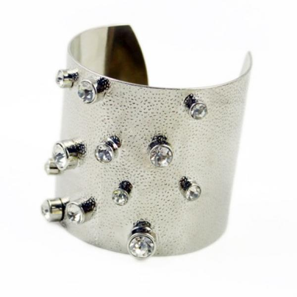Punky Gladiator Style Cuff Bangle with Crystals