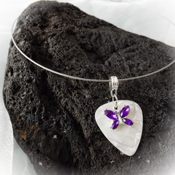 Purple Butterfly on White Guitar Pick Choker