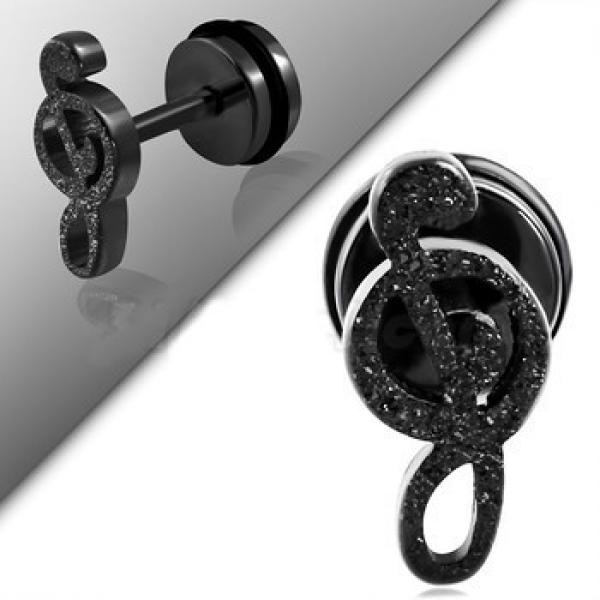 Fake Ear Plug With O Ring- Sandblasted Treble Clef Black Stainless Steel