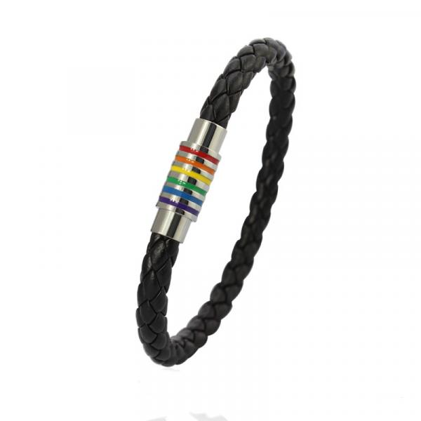 Rainbow Flag Titanium Steel Vintage Leather Bracelet