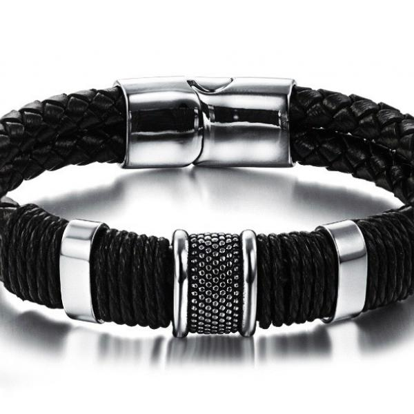 Genuine Leather & Steel Double Layer Bracelet