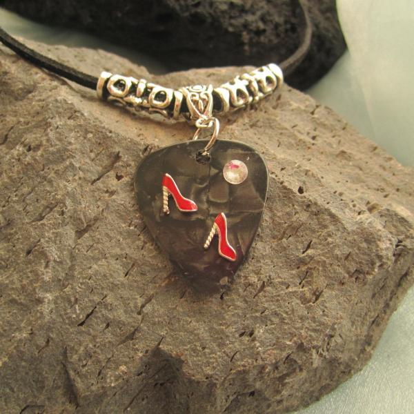 Guitar Pick Necklace Featuring Red Dancing Shoes