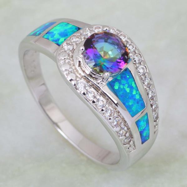 Blue Rainbow Mystic Topaz Opal 925 Sterling Silver Ring  - Size 8
