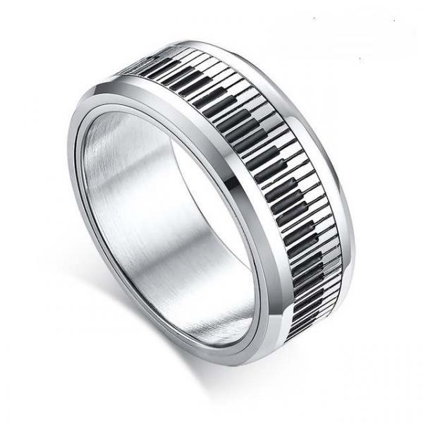 Piano Note Stainless Steel Ring With Spin Design
