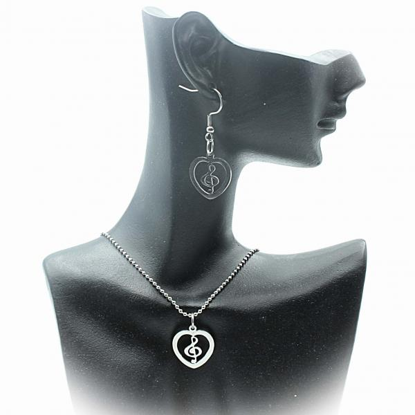 Treble Clef Heart Necklace and Earrings