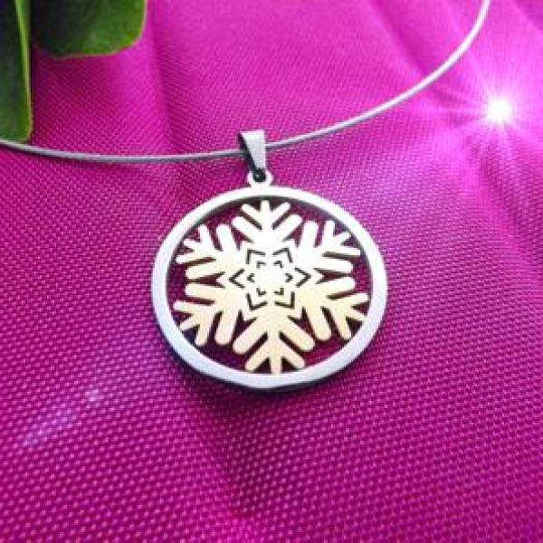 Snowflake Flower Circle Pendant - Choose Your Style!