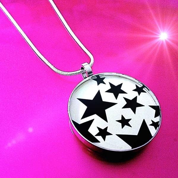 Stars Stainless Steel Black and White Pendant - Customisable