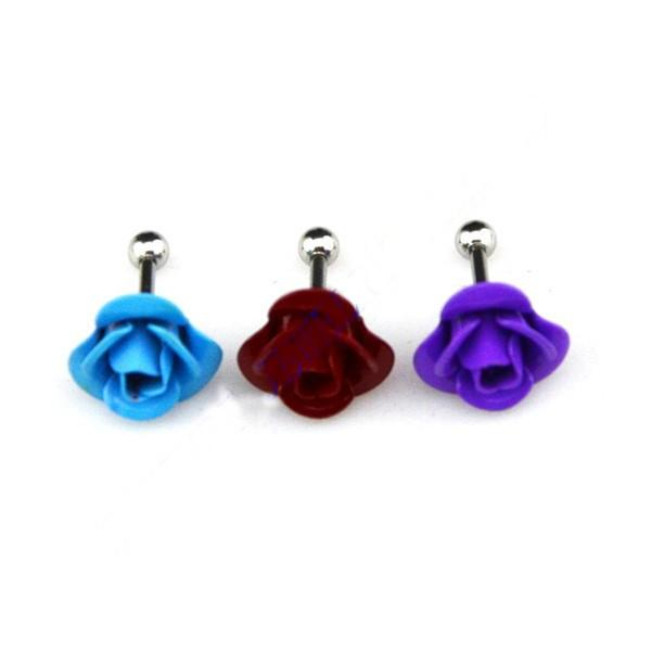 Rose Flower Ear Tragus Cartilage Earring Stud - Beautiful Painted Body Jewellery