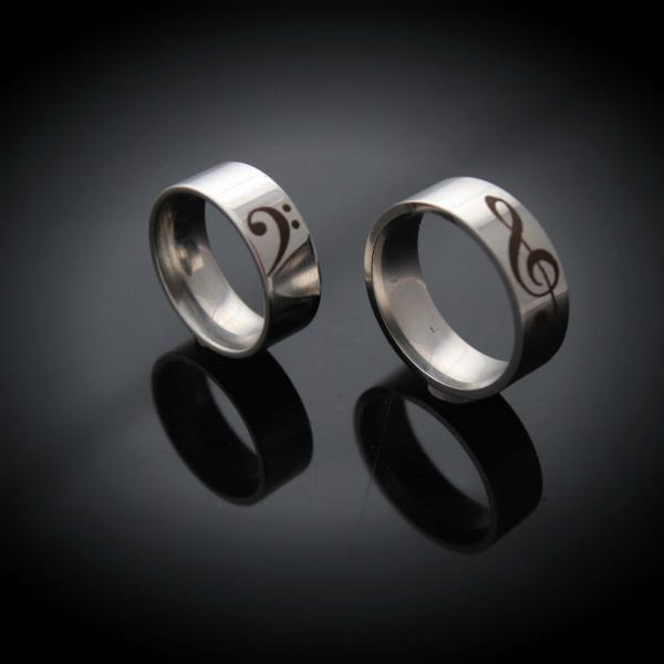 Bass and Treble Clef Stainless Steel Ring