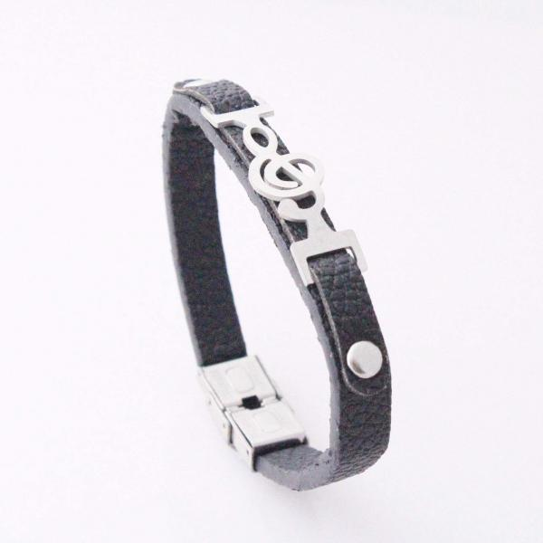 Treble Clef Connector Leather Bracelet
