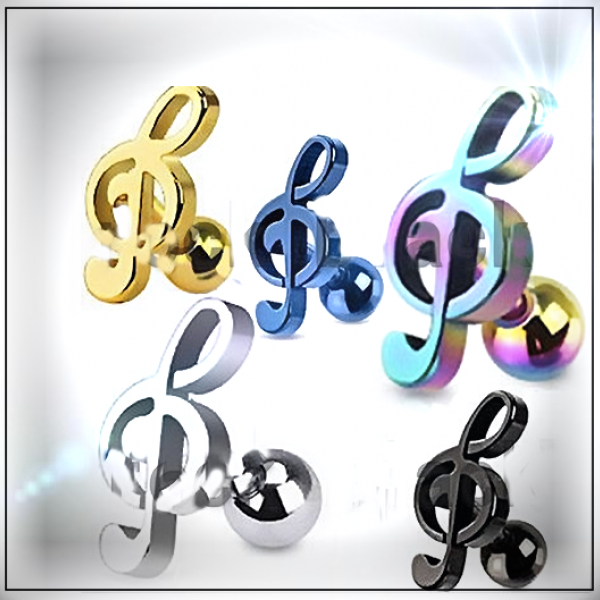 Treble Clef Music Note Tragus/Helix Cartilage Ear Ring Piercing Stud