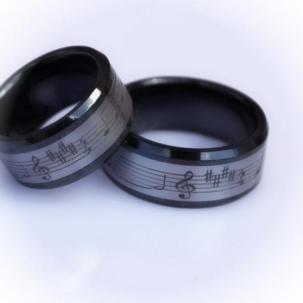 Music Ring - Tungsten and Ceramic Combination Ring -