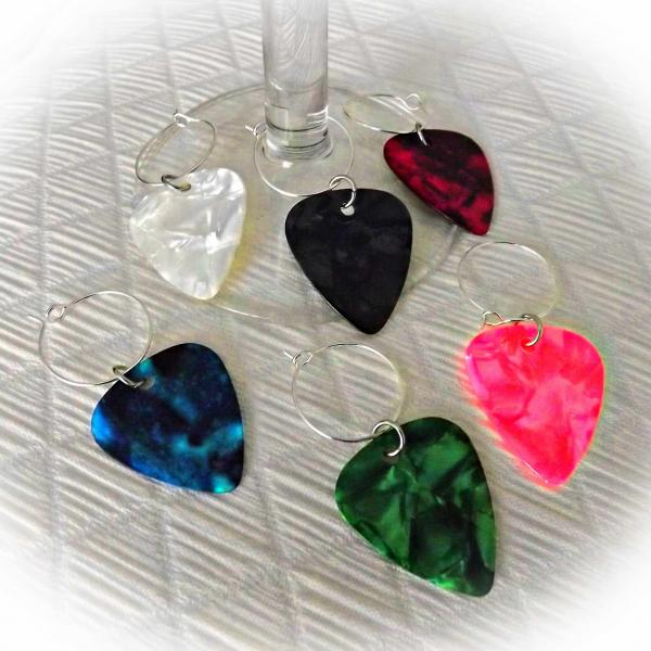 Wine Glass Charms - Guitar Pick Style