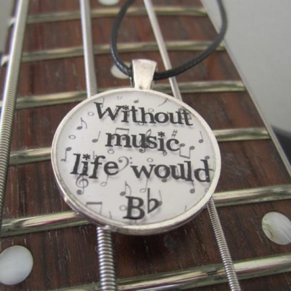 Without Music Life Would Bb - Funky Circle Resin Pendant