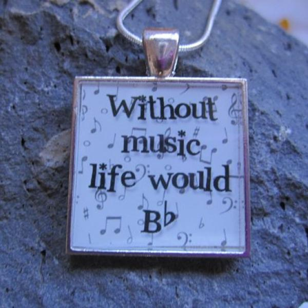 Without Music Life Would Bb - Funky Square Resin Pendant