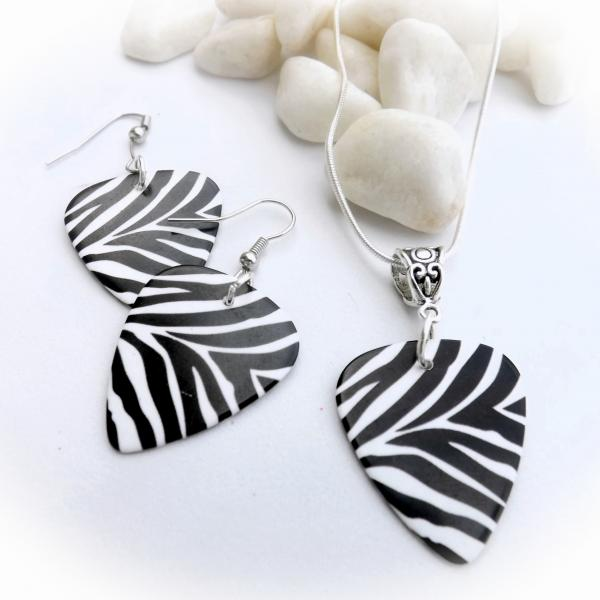 Animal Print Guitar Pick Necklace and Earrings