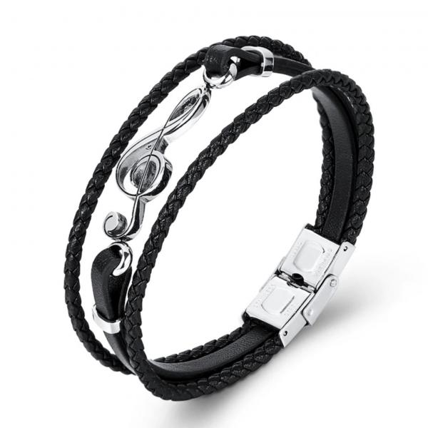Music Treble Clef Note Bracelet - Stainless Steel and Leather