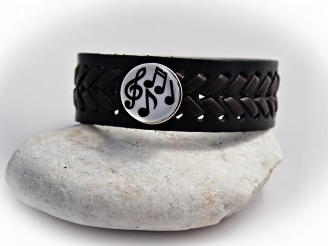 Leather Bracelet with Music Snap Buttons