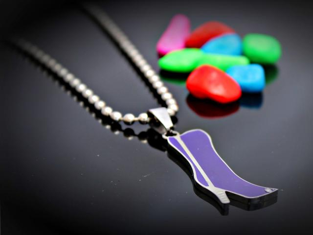 Purple High Heel Boot Pendant in Stainless Steel