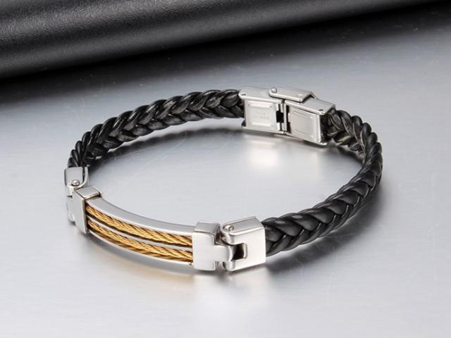 Titanium Steel & Leather Rope Design Bracelet